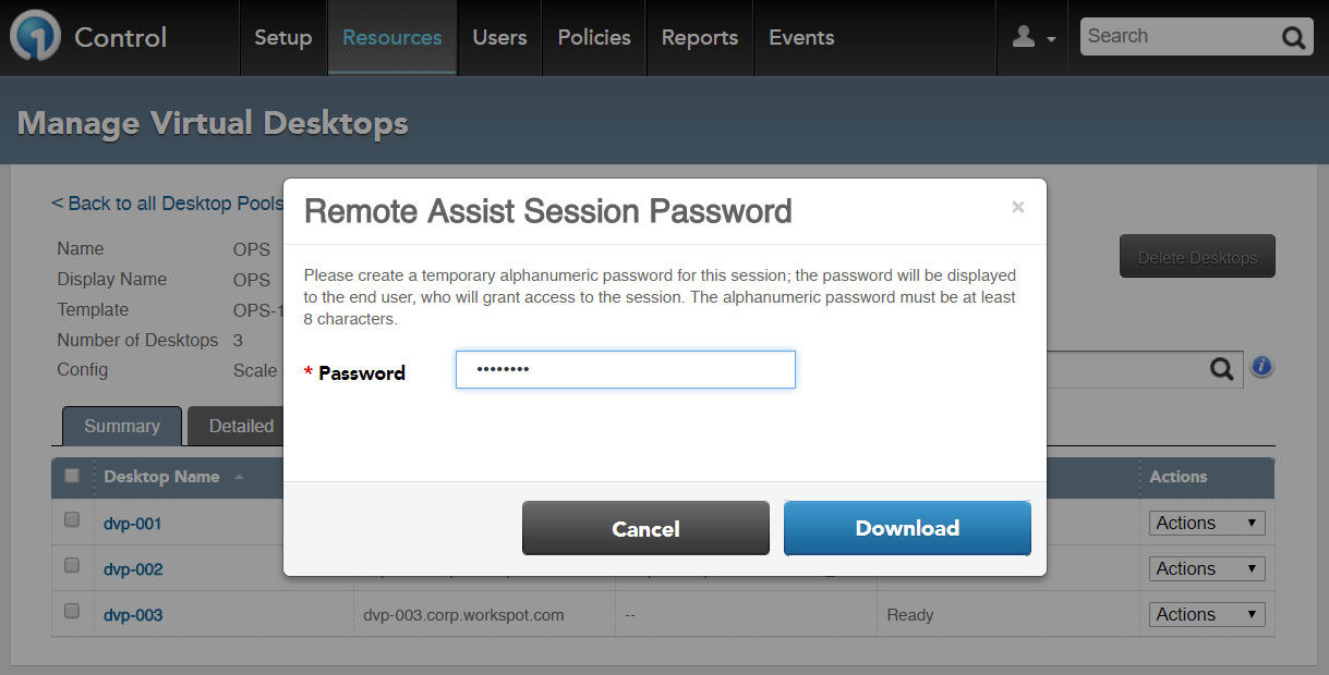Figure 3 - Remote Assist Session Password Dialog, Initiates the Agent/Control MSRC Incident File Transfer