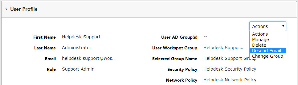 User Profile - Helpdesk Support - Activation - Resend Email