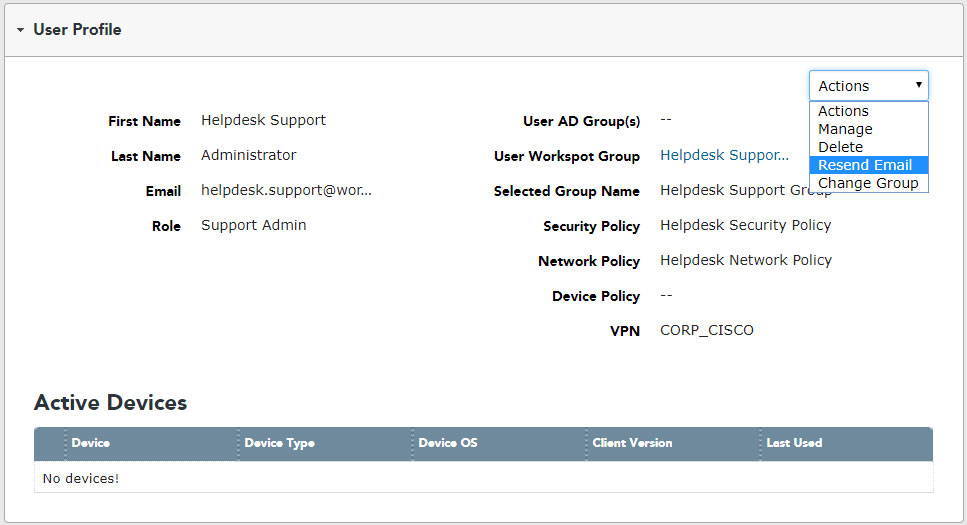User Details - User Profile - Actions - helpdesk.support.admin