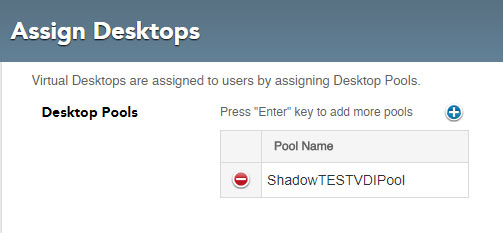 User Details - Entitlements - Desktop Pool Assignment