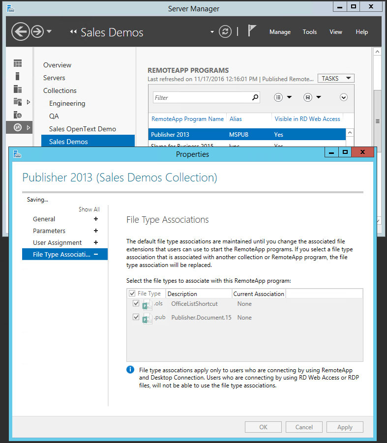 Remote Desktop Services (RDS) 2012 - Associating Applications with